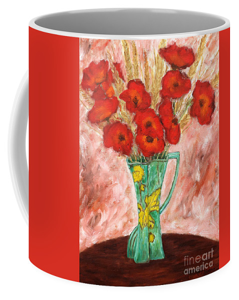 Valentine Coffee Mug featuring the painting Green Vase And Poppies by Patrick J Murphy