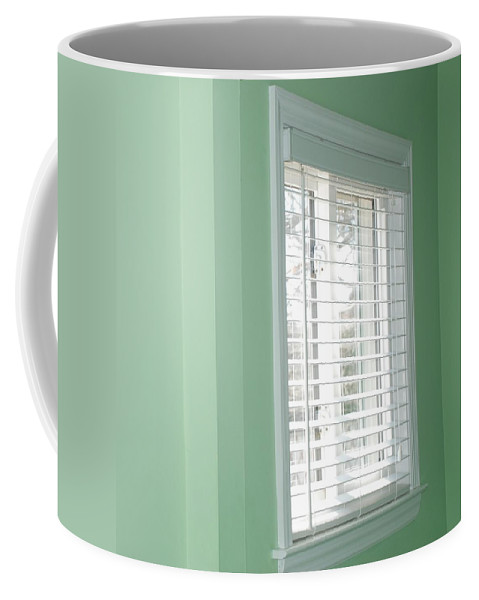 Architecture Coffee Mug featuring the photograph Green Wall White Window by Rob Hans