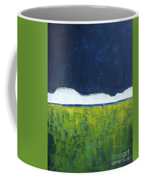 Landscape Coffee Mug featuring the painting Green Wheat Field by Vesna Antic