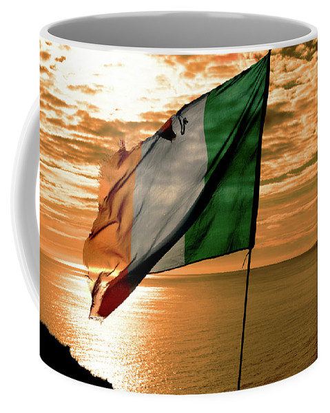 Ireland Coffee Mug featuring the photograph Flag Of Ireland At The Cliffs Of Moher by Aidan Moran