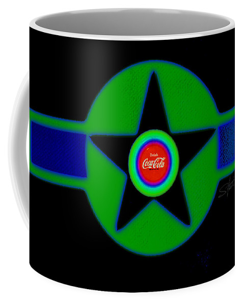 Usaaf Coffee Mug featuring the painting Green With Blue by Charles Stuart