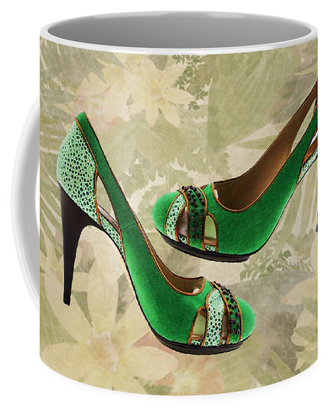 Shoes Heels Pumps Fashion Designer Feet Foot Shoe Stilettos Painting Paintings Illustration Illustrations Sketch Sketches Drawing Drawings Pump Stiletto Fetish Designer Fashion Boot Boots Footwear Sandal Sandals High+heels High+heel Women's+shoes Graphic Sophisticated Elegant Modern Coffee Mug featuring the painting Green With Envy Pumps by Elaine Plesser
