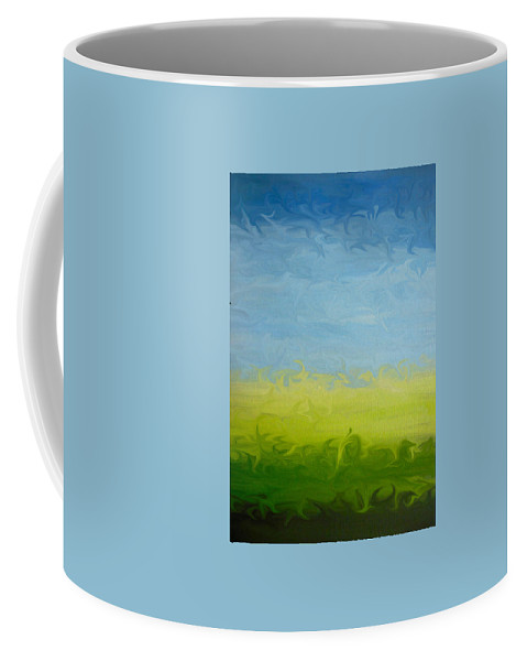 Pasture Coffee Mug featuring the painting Greener Pasture 3- Digital Painting by Kathy Symonds