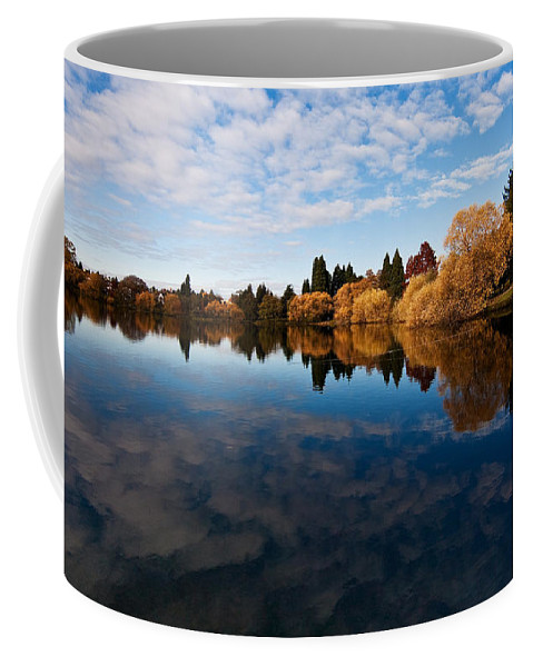 Greenlake Coffee Mug featuring the photograph Greenlake Fall Reflections by Mike Reid