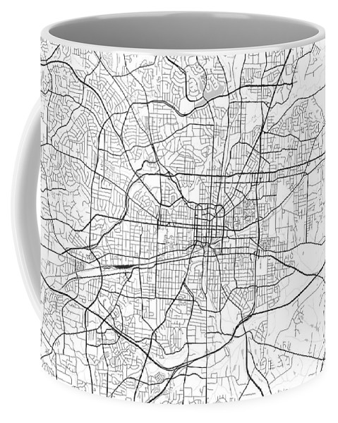 Road Map Coffee Mug featuring the digital art Greensboro North Carolina Usa Light Map by Jurq Studio