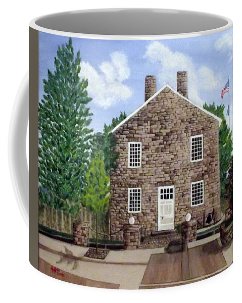 Greensburg Coffee Mug featuring the painting Greensburg Kentucky Courthouse by Sheryl Jeffries