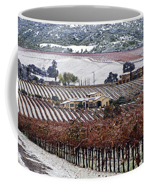 Vineyard Coffee Mug featuring the photograph Greenville Vineyard In Snow by Karen W Meyer