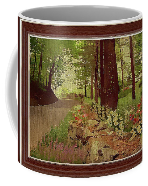 Path Coffee Mug featuring the mixed media Greeted By Wild Flowers by Clive Littin