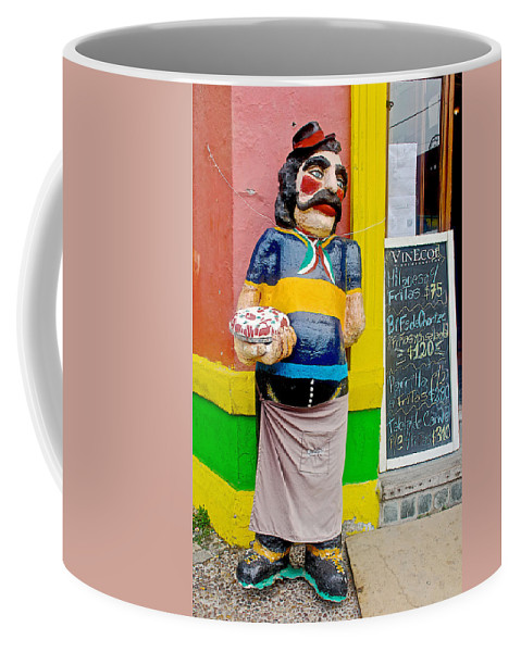 Greeter At Pizzeria In La Boca Barrio In Buenos Aires Coffee Mug featuring the photograph Greeter At Pizzeria In La Boca Area Of Buenos Aires-argentina- by Ruth Hager
