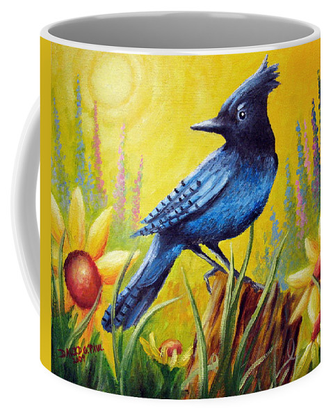 Bird Coffee Mug featuring the painting Greeting The Day by David G Paul