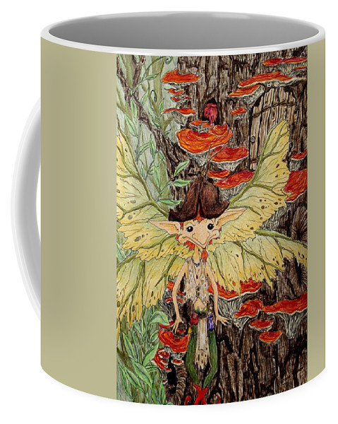 Faerie Coffee Mug featuring the painting Greetings by Faeriebluemoon Creations Tressure Hardcastle
