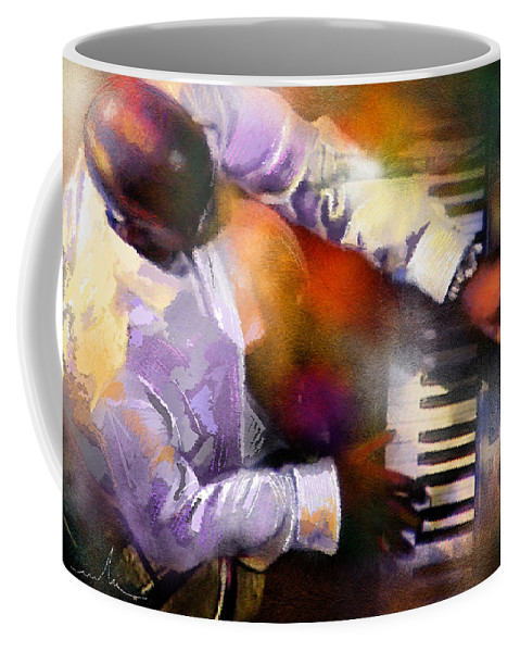 Musicians Coffee Mug featuring the painting Greg Phillinganes From Toto by Miki De Goodaboom