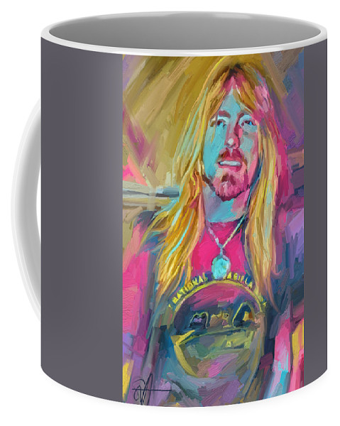 Gregg Allman Music Portrait Musician Rock Coffee Mug featuring the digital art Gregg by Scott Waters