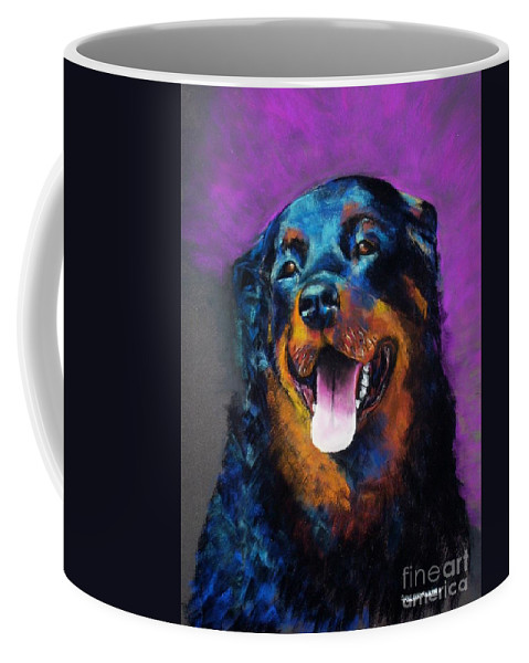 Rottweiler Coffee Mug featuring the painting Gretchen by Frances Marino