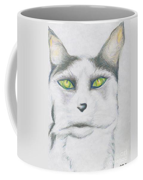 Cat Coffee Mug featuring the drawing Gretta by Kim Sy Ok