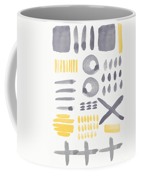 Grey And Yellow Coffee Mug featuring the painting Grey and Yellow Shapes- abstract painting by Linda Woods