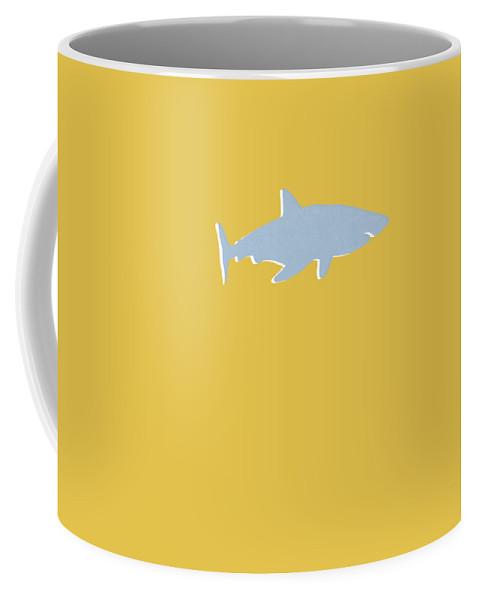 Shark Coffee Mug featuring the mixed media Grey and Yellow Shark by Linda Woods