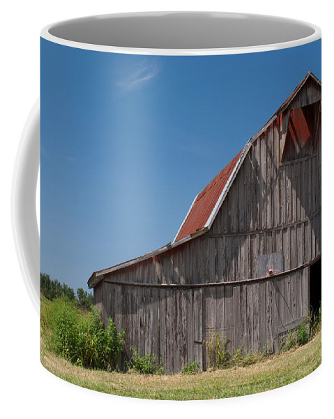 Barn Coffee Mug featuring the photograph Grey Barn by Douglas Barnett