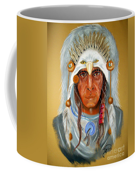 Portrait Coffee Mug featuring the pastel Grey Eagle... by Jo Hoden