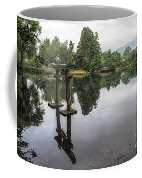 Landscape Coffee Mug featuring the photograph Grey Heron On Lake Kinrin by Aaron Choi