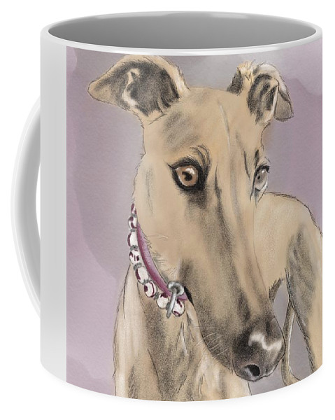 Greyhound Coffee Mug featuring the digital art Greyhound by Erin Salazar
