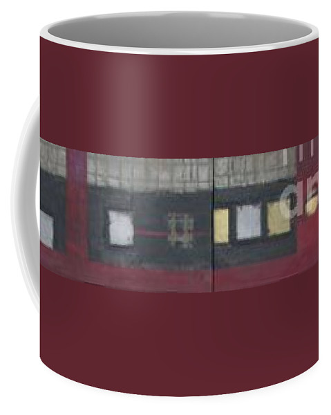 Abstract Coffee Mug featuring the mixed media Griddies by Marlene Burns