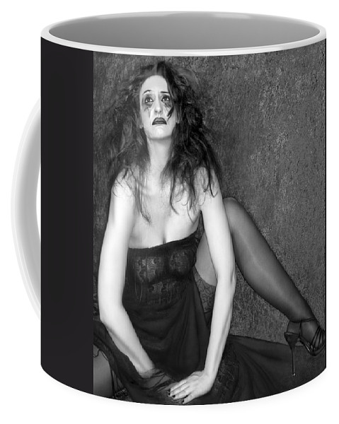 Black White Photography Coffee Mug featuring the photograph Grieve - Self Portrait by Jaeda DeWalt
