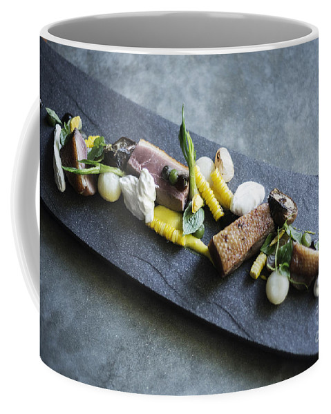 Background Coffee Mug featuring the photograph Grilled Pork Sour Cream And Vegetables On Modern Grey Slate by Jacek Malipan