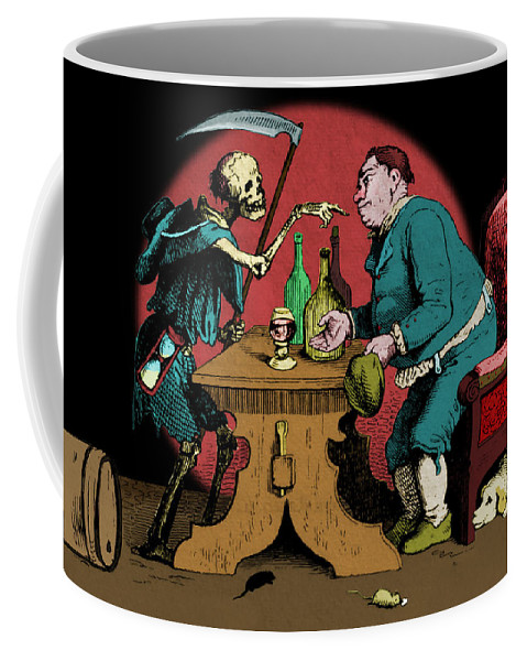 Adrian Ludwig Richter Coffee Mug featuring the digital art A Grim Visitor by Ludwig Richter and Martin Brockhaus