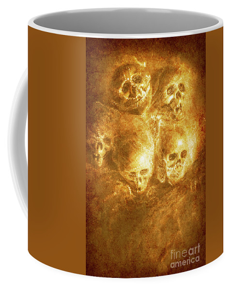 Horror Coffee Mug featuring the photograph Grim Tales Of Burning Skulls by Jorgo Photography - Wall Art Gallery