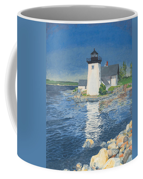 Lighthouse Coffee Mug featuring the painting Grindle Point Light by Dominic White