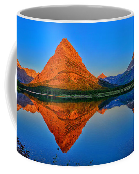 Grinnell Point Coffee Mug featuring the photograph Grinnell Point Alpenglow Panorama by Greg Norrell