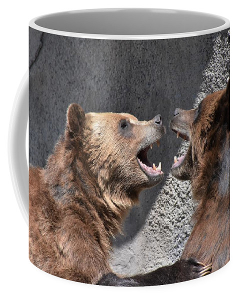 Grizzly Bear Coffee Mug featuring the photograph Grizzlies' Playtime 6 by Flo McKinley