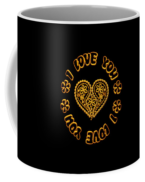 I Love You Coffee Mug featuring the digital art Groovy Golden Heart And I Love You by Rose Santuci-Sofranko
