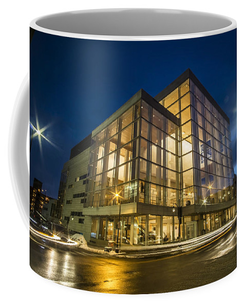 Overture Center For The Arts Coffee Mug featuring the photograph Groovy Modern Architecture One Wintry Night by Sven Brogren