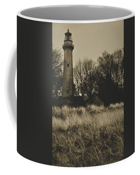 Grosse Point Lighthouse Coffee Mug featuring the photograph Grosse Point Lighthouse Sepia by Kyle Hanson