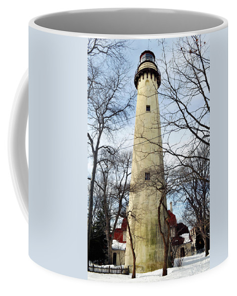 Grosse Point Lighthouse Coffee Mug featuring the photograph Grosse Point Lighthouse Winter by Kyle Hanson
