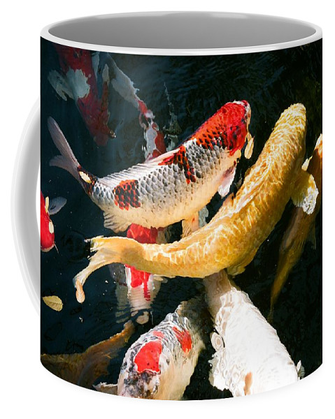 Fish Coffee Mug featuring the photograph Group Of Koi Fish by Dean Triolo