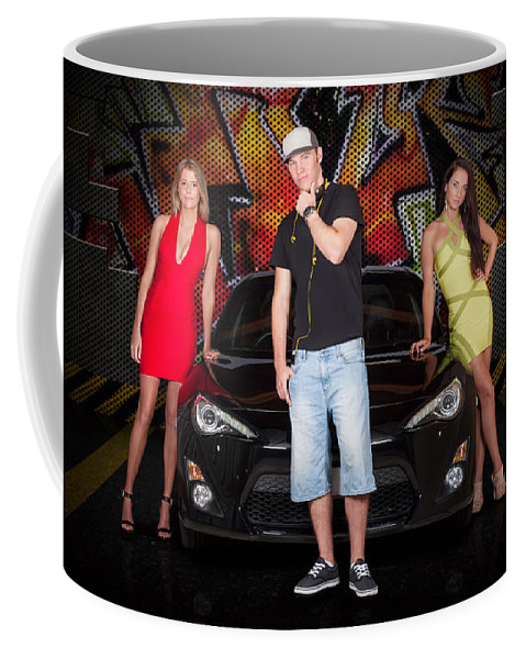 People Coffee Mug featuring the photograph Group Of Young People Beside Black Modern Car by Jorgo Photography - Wall Art Gallery