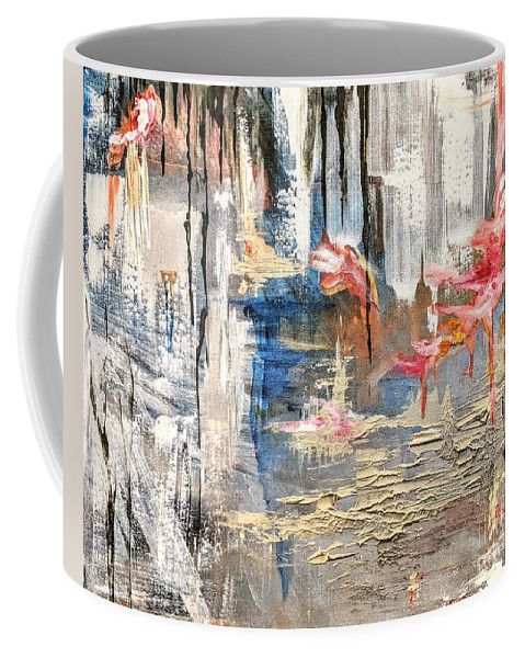 Abstract Coffee Mug featuring the painting Growing Cliffside by Melinda Zielfelder