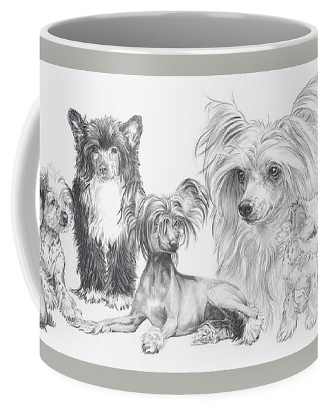 Toy Group Coffee Mug featuring the drawing Growing Up Chinese Crested And Powderpuff by Barbara Keith