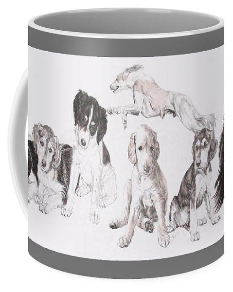 Purebred Dogs Coffee Mug featuring the mixed media Growing Up Saluki by Barbara Keith