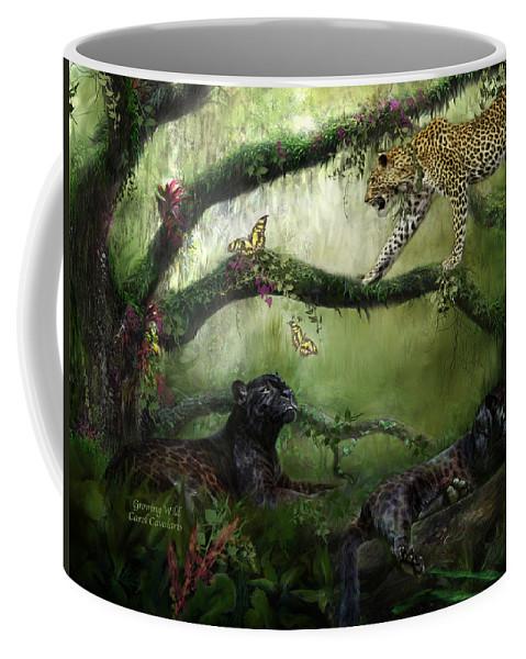 Panther Coffee Mug featuring the mixed media Growing Wild by Carol Cavalaris