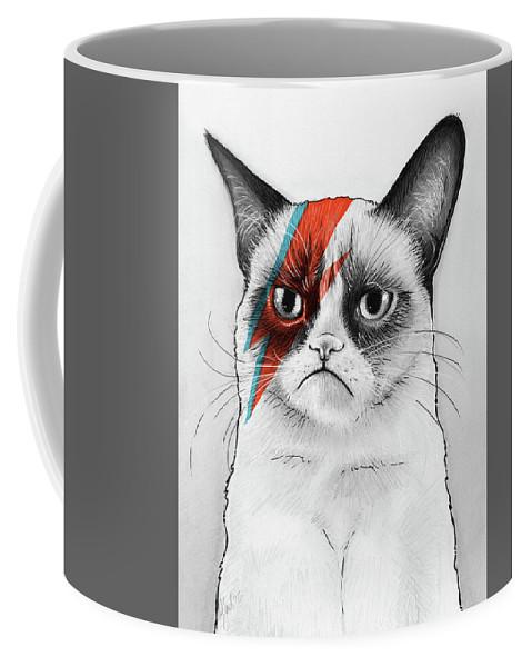 Grumpy Cat Coffee Mug featuring the drawing Grumpy Cat as David Bowie by Olga Shvartsur