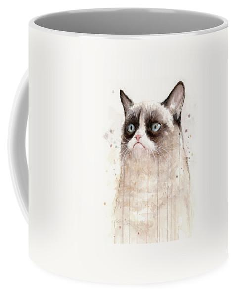 Grumpy Coffee Mug featuring the painting Grumpy Watercolor Cat by Olga Shvartsur