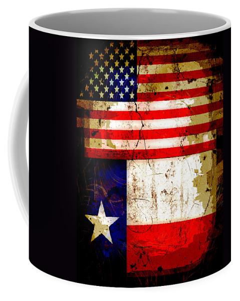 2c849947b2b Usa Coffee Mug featuring the photograph Grunge Style Us And Texas Flags by David  G Paul
