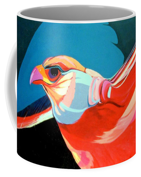 Bird Coffee Mug featuring the painting Gryfalcon by Marlene Burns