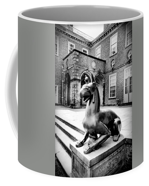 Black And White Coffee Mug featuring the photograph Guardian by Greg Fortier