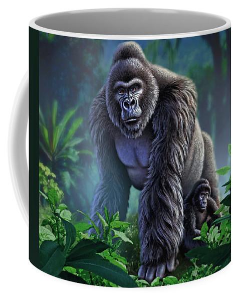 Gorilla Coffee Mug featuring the painting Guardian by Jerry LoFaro