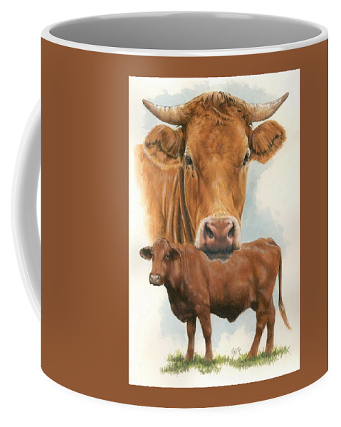 Cow Coffee Mug featuring the mixed media Guernsey by Barbara Keith